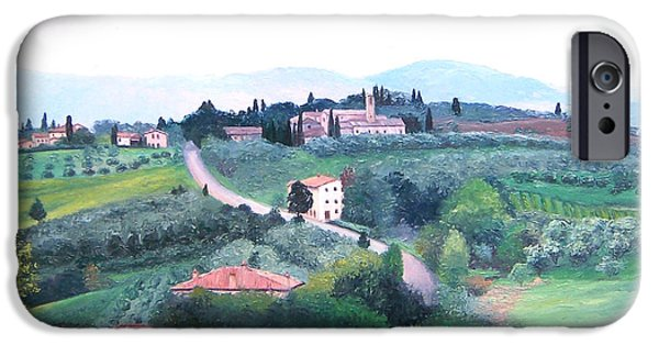 Tuscan Hills Paintings iPhone Cases - Tuscany Landscape iPhone Case by Jan Matson