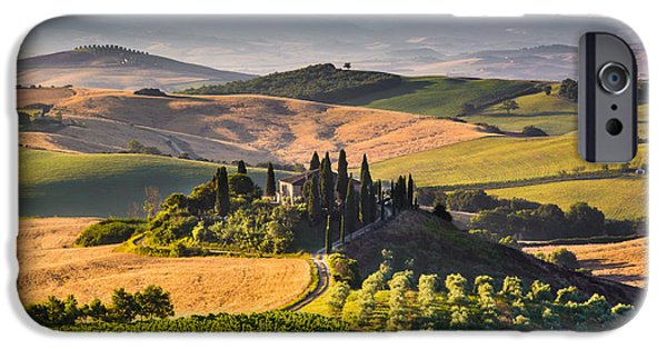 Tuscan Road iPhone Cases - Tuscany Sunrise iPhone Case by JR Photography