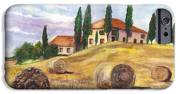 Field. Cloud Drawings iPhone Cases - Tuscany Villa iPhone Case by Carol Wisniewski