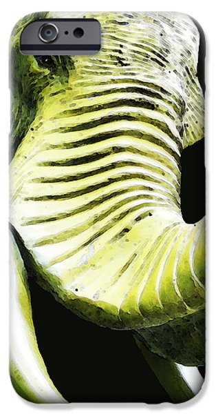 Safari Prints iPhone Cases - Tusk 1 - Dramatic Elephant Head Shot Art iPhone Case by Sharon Cummings