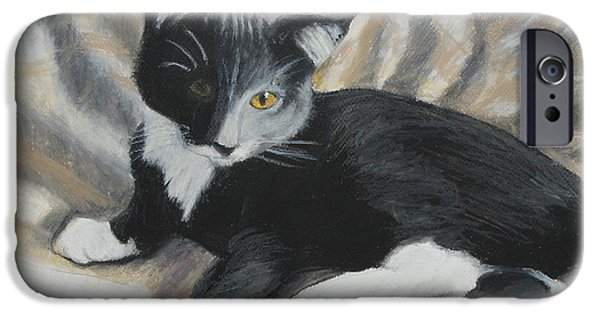Small Pastels iPhone Cases - Tuxedo Kitten iPhone Case by Jeanne Fischer