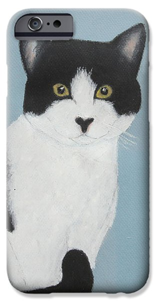 One iPhone Cases - Tuxedo Nellie iPhone Case by Jeanne Fischer
