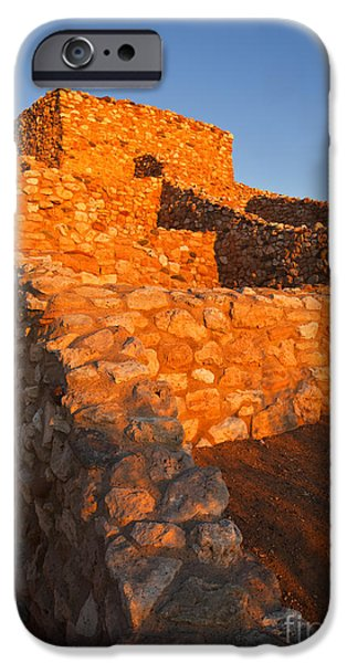 Ruins iPhone Cases - Tuzigoot Dawn iPhone Case by Mike  Dawson