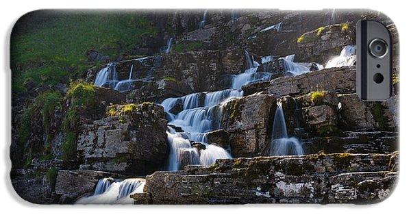 Norway Pyrography iPhone Cases - Tvindefossen waterfall Norway iPhone Case by Pavlo Kolotenko
