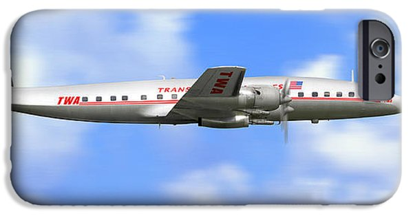 Flight iPhone Cases - TWA Constellation Airliner iPhone Case by Mike McGlothlen