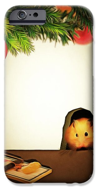 Mice Digital Art iPhone Cases - Twas The Night Before Christmas 20140919brunaille iPhone Case by Wingsdomain Art and Photography