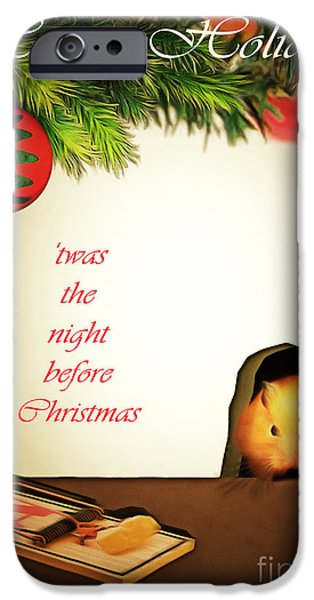 Mice Digital Art iPhone Cases - Twas The Night Before Christmas 20140919brunaille with text iPhone Case by Wingsdomain Art and Photography