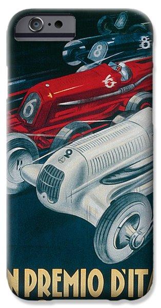 Transportation Drawings iPhone Cases - Twelfth Italian Grand Prix at Monza iPhone Case by Plinio Codognato