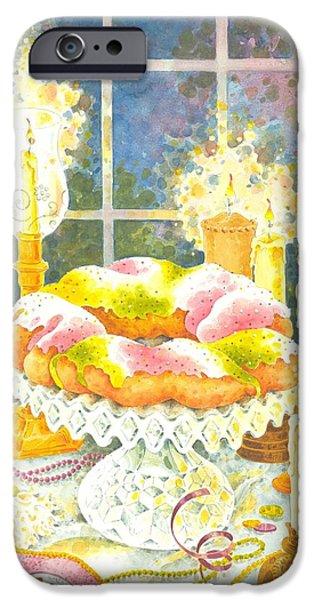 Mardi Gras Paintings iPhone Cases - Twelfth Night Celebration iPhone Case by Joyce Hensley