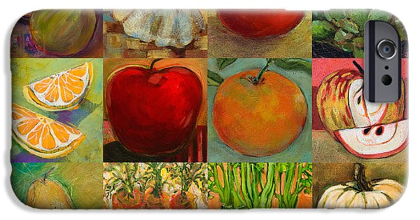 Painted Paintings iPhone Cases - Twelve Colorful Foods Collage iPhone Case by Jen Norton