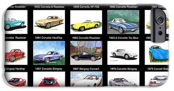 At Poster Mixed Media iPhone Cases - Twenty Corvettes iPhone Case by Jack Pumphrey
