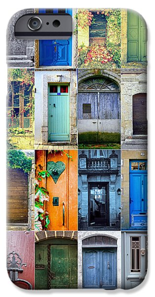 French Doors iPhone Cases - Twenty Four French Doors Collage iPhone Case by Nomad Art And  Design