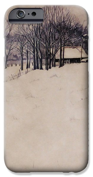 Haybales Paintings iPhone Cases - Twenty Two Inches iPhone Case by Barbara Hester