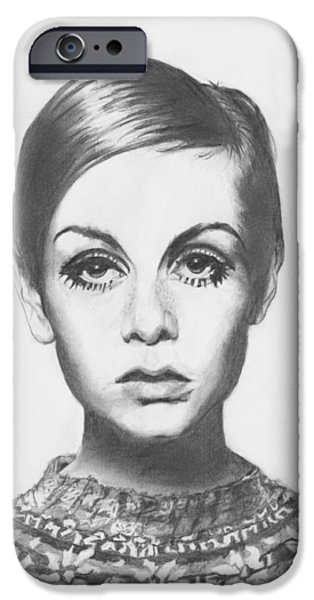 Twiggy iPhone Cases - Twiggy - Pencil iPhone Case by Alexander Gilbert