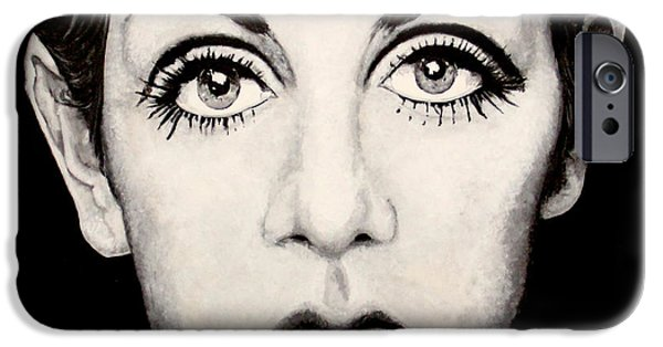 Twiggy Paintings iPhone Cases - Twiggy iPhone Case by Austin Angelozzi