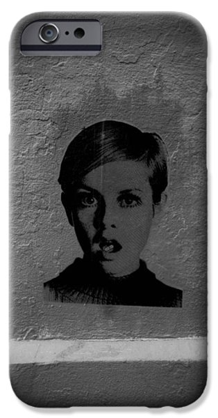 Twiggy iPhone Cases - Twiggy Street Art iPhone Case by Louis Maistros