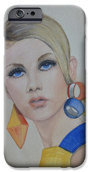 Twiggy Paintings iPhone Cases - Twiggy the 60s Fashion Icon iPhone Case by Kelly Mills