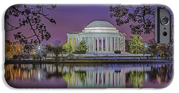 D.c. iPhone Cases - Twilight At The Thomas Jefferson Memorial  iPhone Case by Susan Candelario