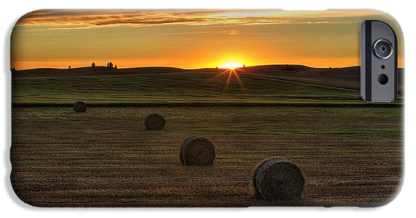Hay Bales iPhone Cases - Twilight Bales iPhone Case by Mark Kiver