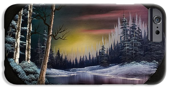 Bob Ross Paintings iPhone Cases - Nightfalls Approach iPhone Case by C Steele