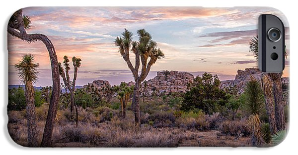 Locations iPhone Cases - Twilight comes to Joshua Tree iPhone Case by Peter Tellone