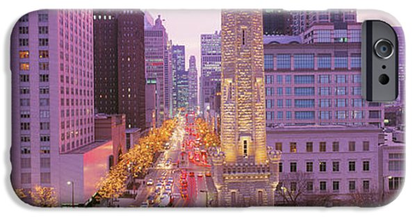 Old Chicago Water Tower iPhone Cases - Twilight, Downtown, City Scene, Loop iPhone Case by Panoramic Images