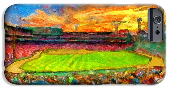 Red Sox Paintings iPhone Cases - Twilight Fenway Park iPhone Case by John Farr