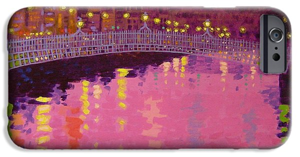 Metal Print iPhone Cases - Twilight - Ha Penny Bridge Dublin iPhone Case by John  Nolan