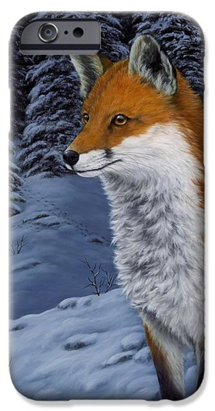 Fox Paintings iPhone Cases - Twilight Hunter iPhone Case by Rick Bainbridge