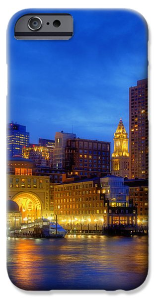 Scenic Boston iPhone Cases - Twilight in Boston iPhone Case by Joann Vitali