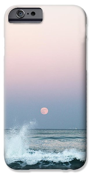 Sea Moon Full Moon Photographs iPhone Cases - Twilight in Rose iPhone Case by Michelle Wiarda