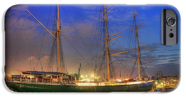Tall Ship iPhone Cases - Twilight in the Port of Hamburg iPhone Case by Pixabay