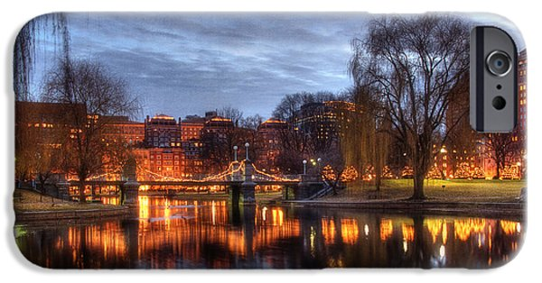 Boston Nightscape iPhone Cases - Twilight in the Public Garden iPhone Case by Joann Vitali