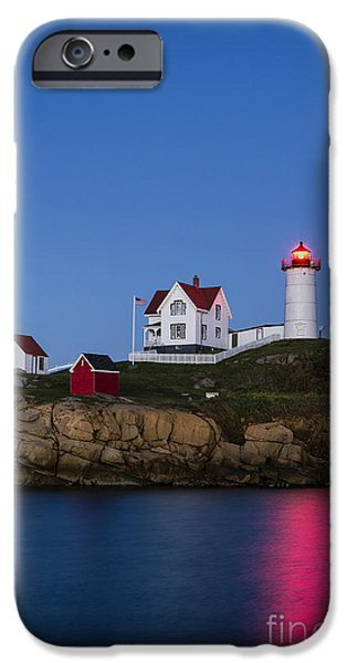 Nubble Lighthouse iPhone Cases - Twilight Nubble Lighthouse iPhone Case by John Greim