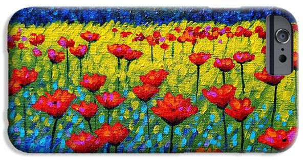 Meadow iPhone Cases - Twilight Poppies iPhone Case by John  Nolan