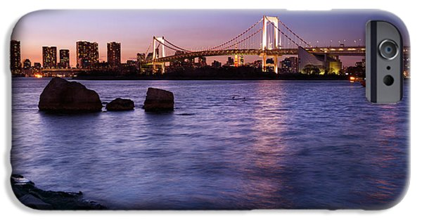 Red Rock iPhone Cases - Twilight scenery of Rainbow bridge across Tokyo Bay iPhone Case by Oleksiy Maksymenko