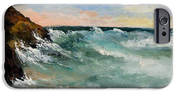 Maine Landscapes Paintings iPhone Cases - Twilight Surf iPhone Case by Larry Martin