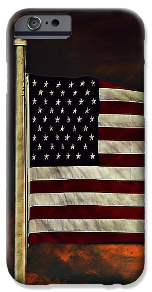 Old Glory iPhone Cases - Twilights Last Gleaming iPhone Case by David Dehner