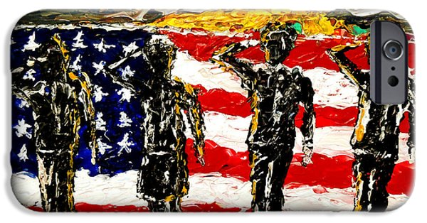 Star Spangled Banner Paintings iPhone Cases - Twilights Last Gleaming iPhone Case by Mark Moore