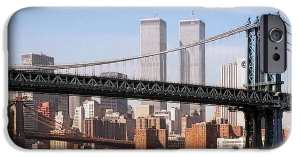 Brooklyn Bridge Digital Art iPhone Cases - Twin Bridges Twin Towers - New York iPhone Case by Daniel Hagerman