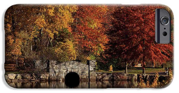 Autumn Scenes Photographs iPhone Cases - Twin Brooks iPhone Case by Karol  Livote