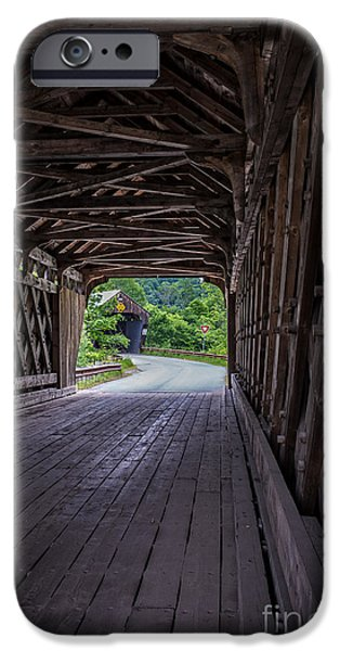 Covered Bridge iPhone Cases - Twin Covered Bridges North Hartland Vermont iPhone Case by Edward Fielding