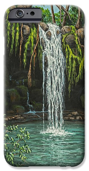 Water In Caves iPhone Cases - Twin Falls iPhone Case by Darice Machel McGuire