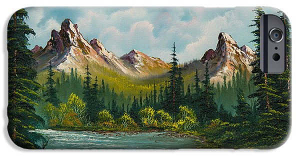 Bob Ross Paintings iPhone Cases - Twin Peaks River iPhone Case by C Steele