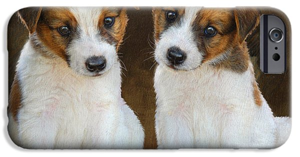 Cute Puppy iPhone Cases - Twin Puppies Portrait iPhone Case by R christopher Vest