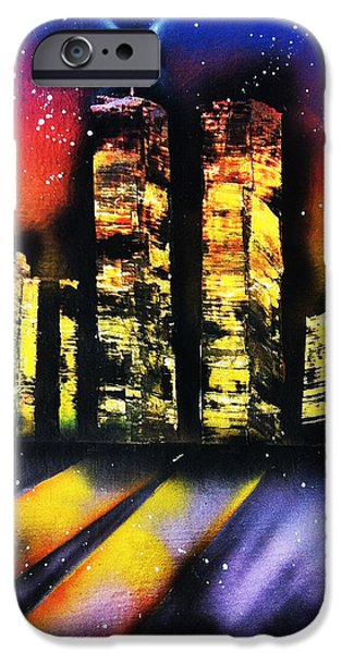 Twin Towers Nyc Paintings iPhone Cases - Twin Tower Spray Paint iPhone Case by Amanda Smentkowski