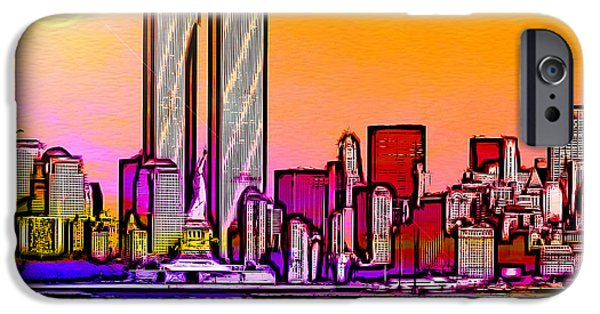 Twin Towers Nyc Digital iPhone Cases - Twin Towers iPhone Case by Daniel Janda