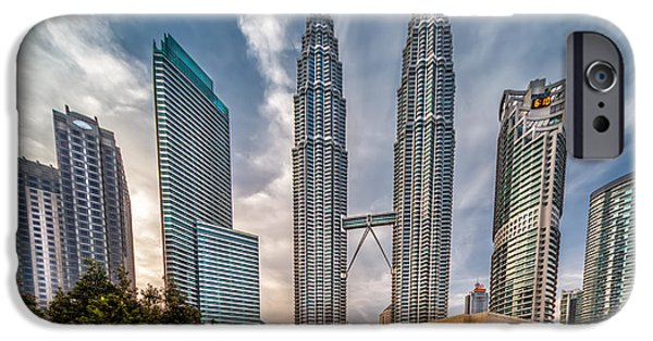 Twin Towers iPhone Cases - Twin Towers KL iPhone Case by Adrian Evans