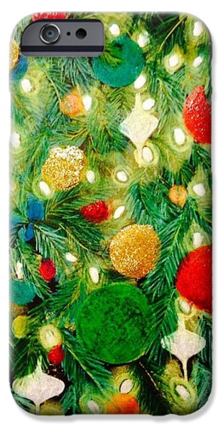 Christmas Pastels iPhone Cases - Twinkling Christmas Tree iPhone Case by Renee Michelle Wenker