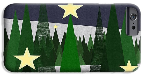 Snowy Night iPhone Cases - Twinkling Forest iPhone Case by Val Arie